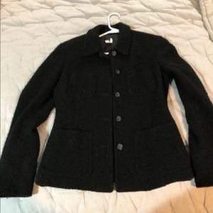 J Crew Women Black Wool 5-Button Blazer. Size: 2